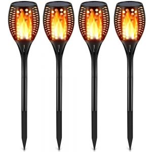 TomCare 4-Pack Flame Flickering Torch Lights Best Solar Path Light