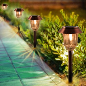 Xmcosy+ 4-Pack Solar Pathway Lights